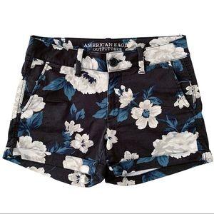AE Stretch Dark Floral Twill Cuffed Midi Shorts